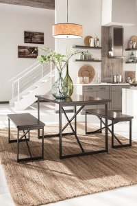 modern dark brown metal and wood dining table set with bench seats