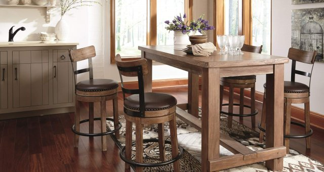 Pinnadel natural wood finish counter table with swivel seat bar stools
