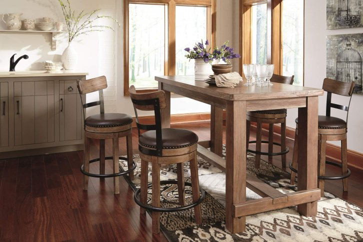Pinnadel natural wood finish counter table with swivel seat bar stools