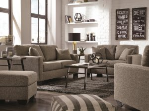 This ash sofa and loveseat keeps a neutral but high-fashion look with its tweed weave upholstery
