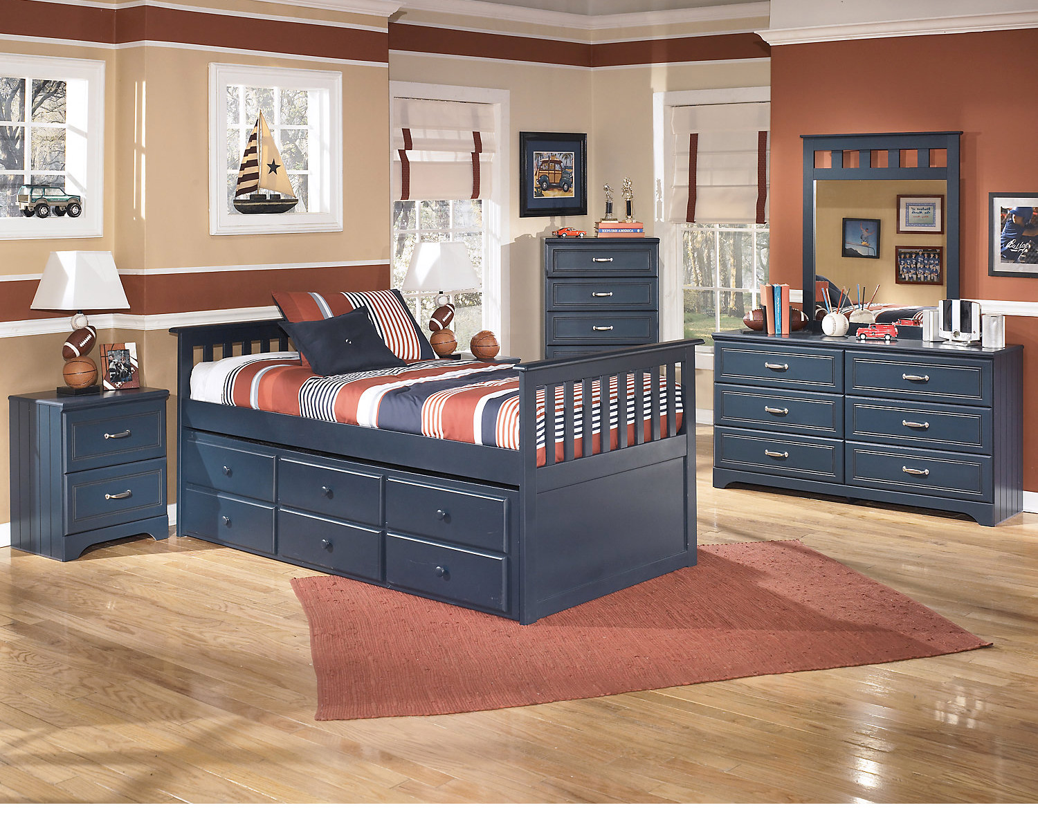 Navy Blue Furniture, Nautical Themed Kids Room