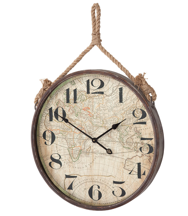 Clock wall hanging with a map textured print.