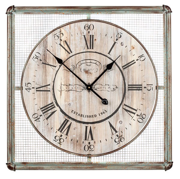 Decorative wall clock with square frame.