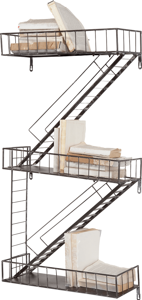 Long staircase looking storage shelves.