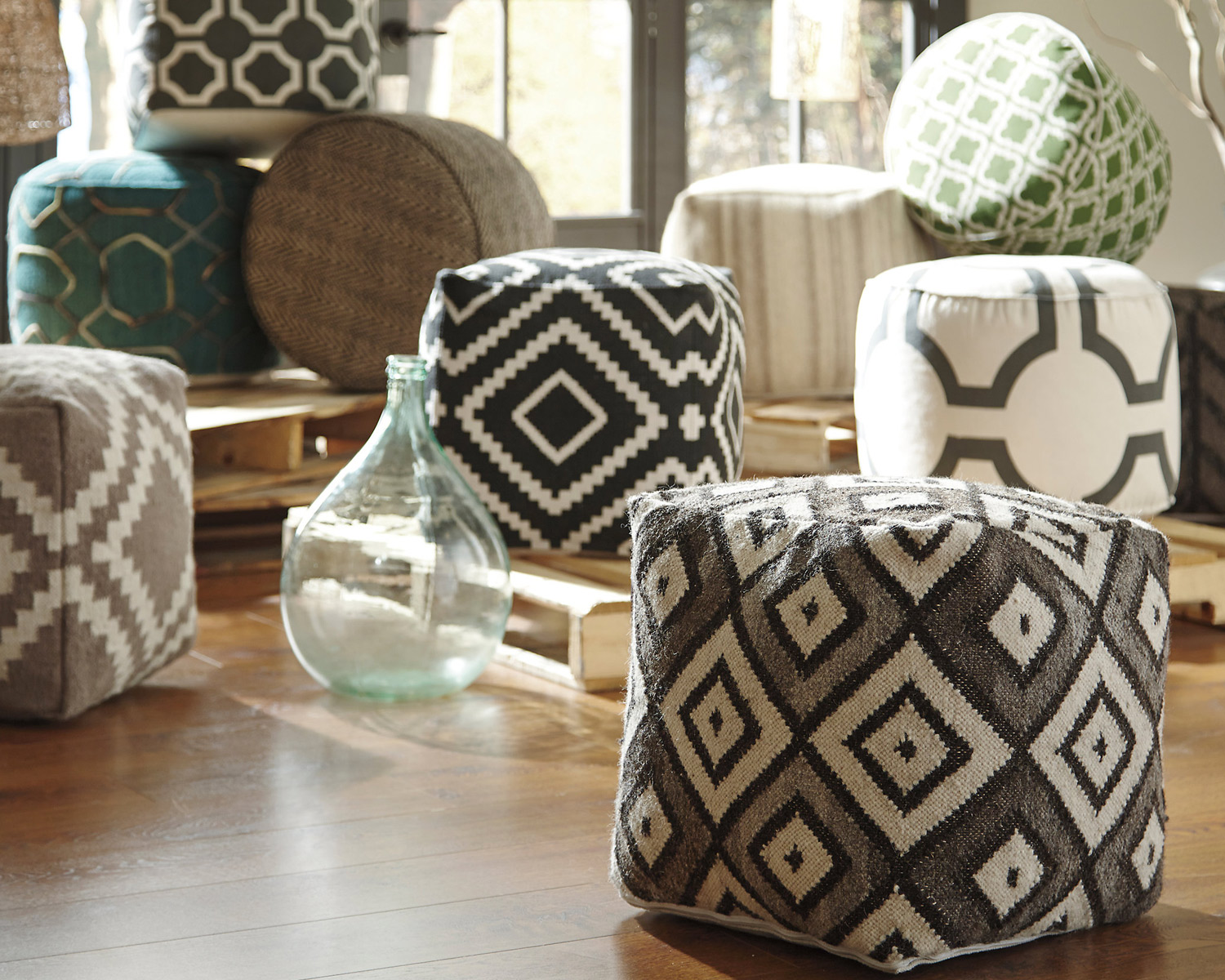 great tips  ideas for decorating with pouf ottomans - may
