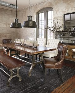 gorgeous urban styled dining room sets with an eclectic mix of chairs and dining benches