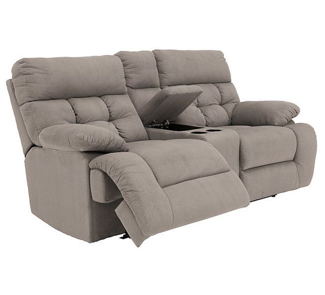 a knock out image of a gray reclining loveseat