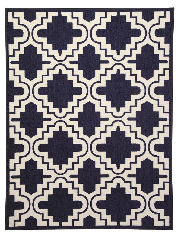 tufted loop pile navy blue rug with a Moraccan lattice pattern