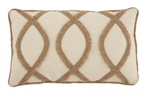 Willowgrove accent pillow with brown fringe pattern
