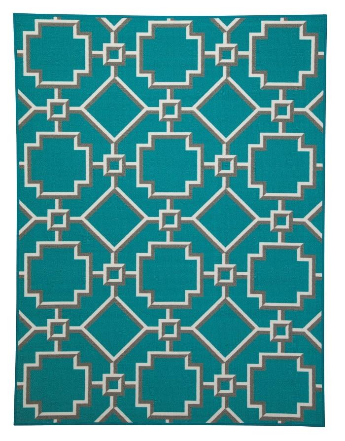 unique trellis patterned turquoise blue area rug