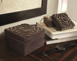 decorative wooden boxes finished with a rubbed black color and raised shapes