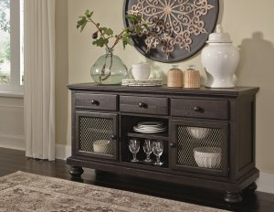 dining room buffet with ample storage in a distressed dark charcoal finish