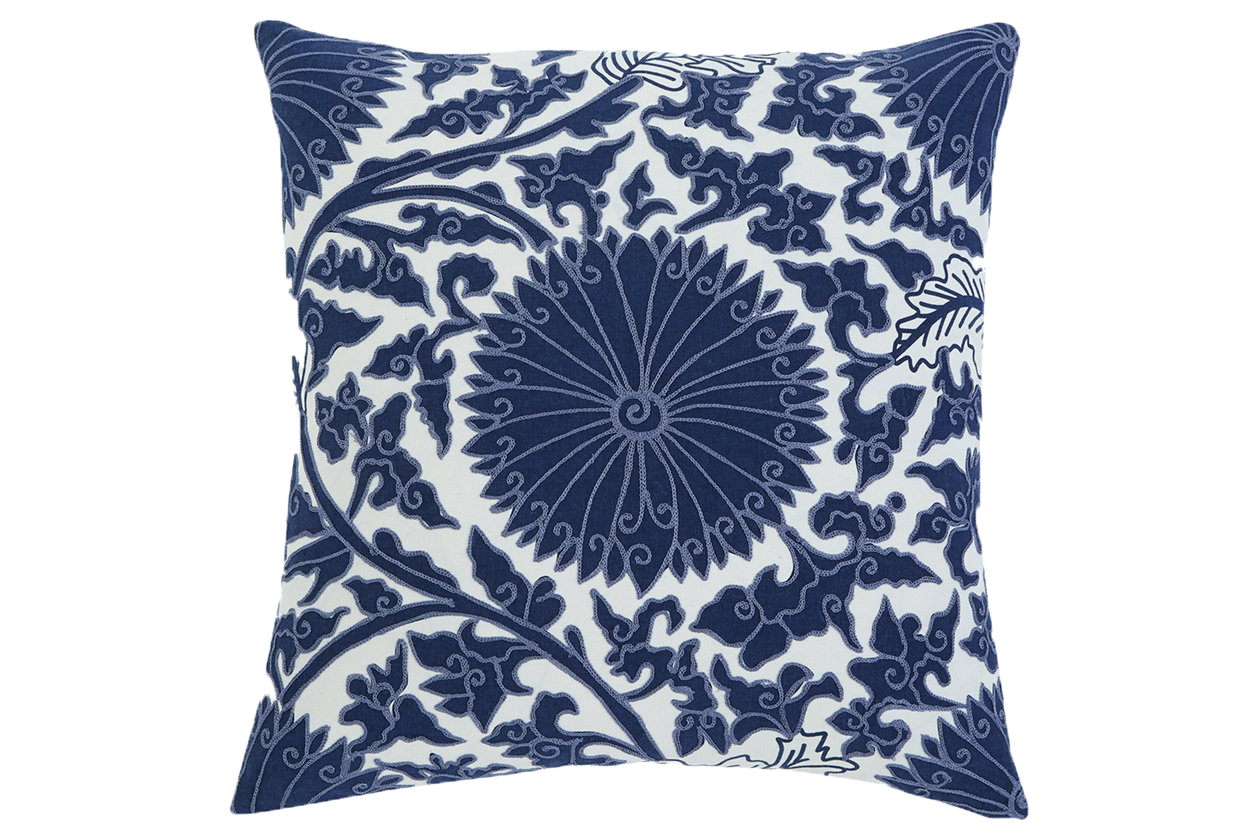 Navy Blue pillow with a bohemian pattern.