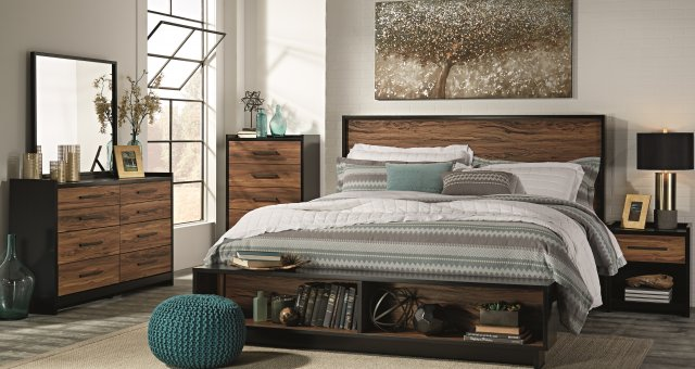 Contemporary king bed with black brown finish