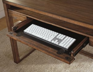 close up view of Baybrin desk hidden keyboard tray drawer