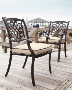 Brown ourtoor swivel chair with a tan cushion on a dock with the water in the background.