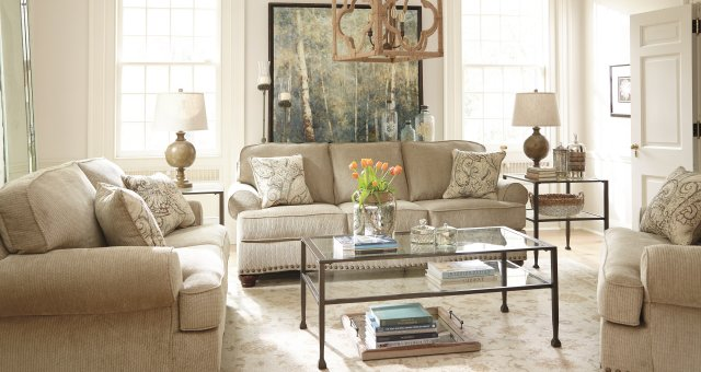 The alma bay living room set styled for a neutral chic look.