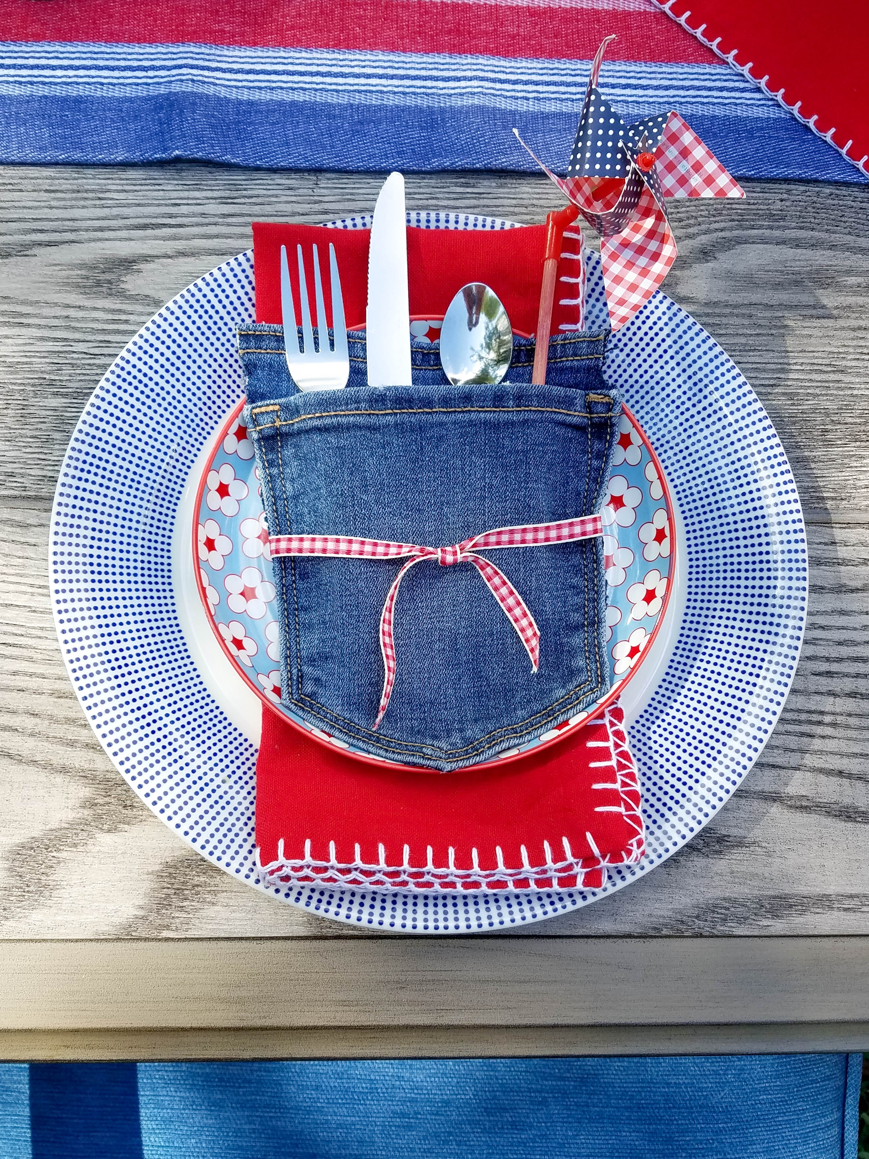 Red whit and blue denim napkin display for memorial day