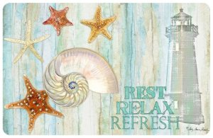 "a coastal and beachy welcome doormat with sea shells and the mat reading ""rest, relax and refresh"""