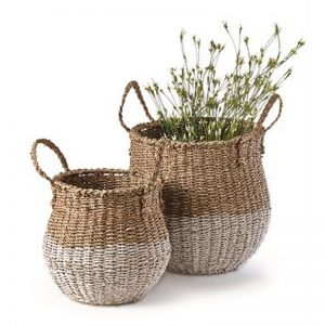 set of 2 seagrass baskets with accent white bottom