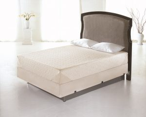 Tempur-Pedic mattress in a large white empty room.