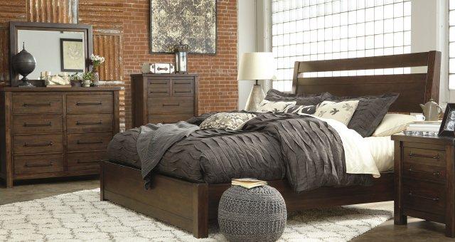 dark brown natural wood bed frame and furniture set