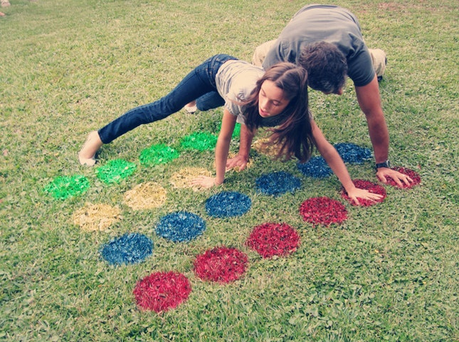 Outdoor twister game made from paint
