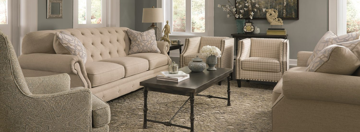 Charming Textured Twill Natural Hues Living Room Furniture Sets with Traditional Style Detail