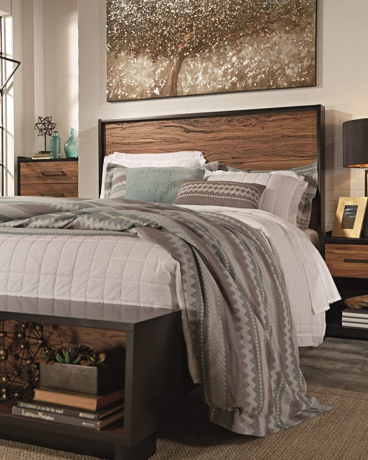 Contemporary black and brown queen bedroom set with dresser and night stand