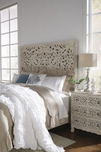 king panel headboard and night stand in contemporary white