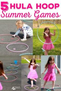 Multiple little girls playing with hula hoops and creating a hopskotch with them.