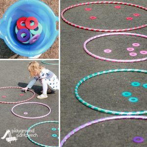 little girl playing with hula hoops and creating a hopscotch.