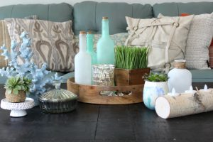 Coffee table decorated with a coastal theme