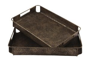 these trays are constructed with pitted metal in a bronze finish