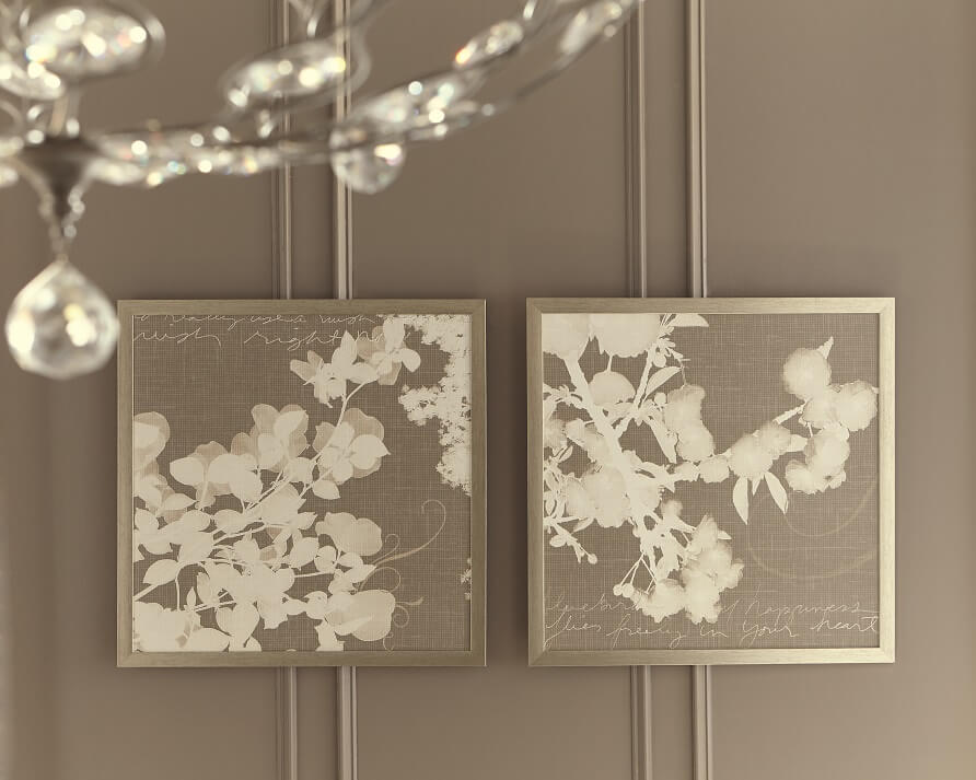 elegant cherry blossom rendering with abstract scripting wall art set