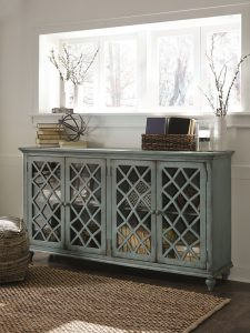 antique style buffet with lattice frame glass doors
