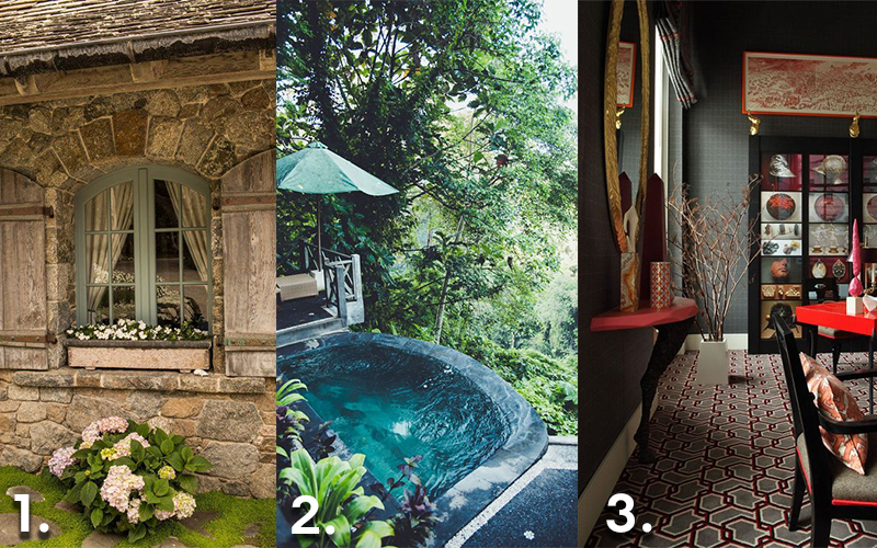 3 snapshots of travel destination, the first is a country cottage, the second is tropical, the third is modern.