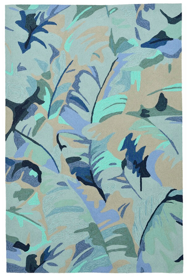 large blue palm tree patterned rug