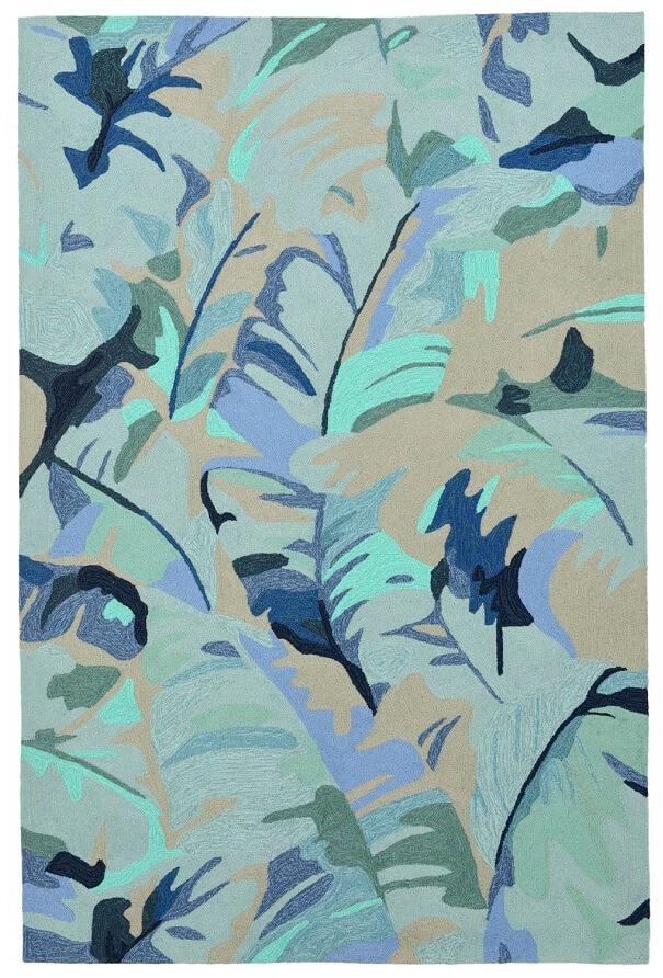 large blue palm tree patterned rug