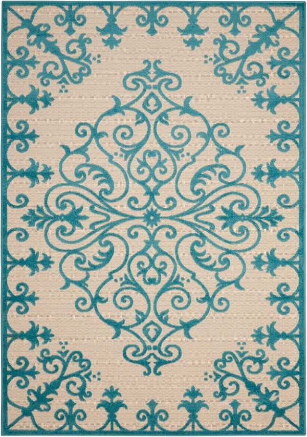 Aqua patterned rug