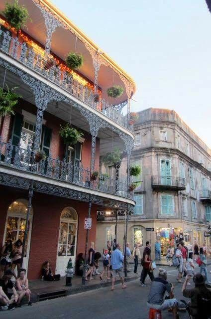 French quarter styled building with handcrafted metal work.