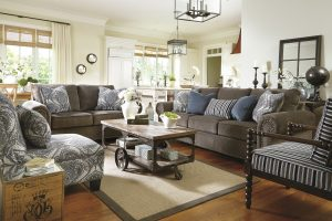 Charcoal Gray Sofa and Lovseat with Patterned Accent Chairs
