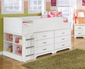 White twin bed with extra storage great for kids and little girls room.