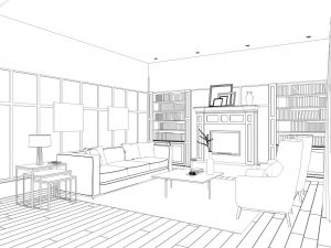 Sketch or drawing of a living room layout design.