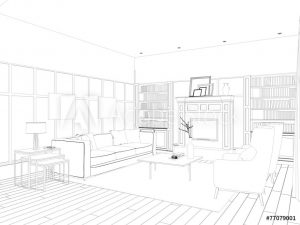 sketch of a living room design.