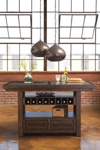 counter height table has drawers and wine rack can double as a storage kitchen island