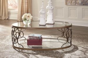 Bronze Metal and Glass Cocktail Table
