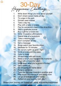 list of challenges to make yourself a happier person