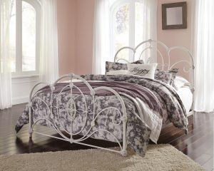 White metal frame queen bed