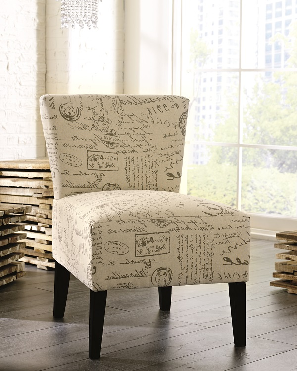 Accent chair with french script design